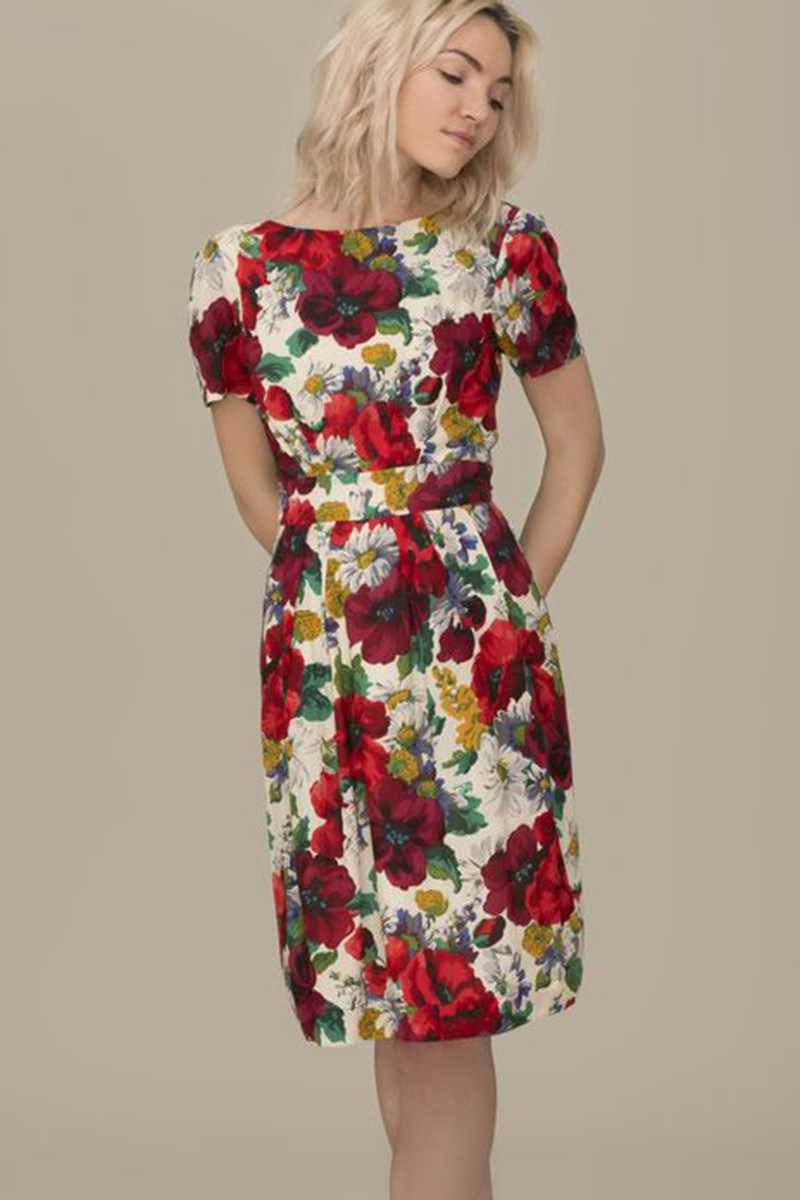 Emily and Fin Maggie Dress Red Blossom Poppies - Talis Collection