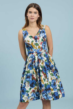 Emily and Fin Emma Dress Blue Blossoming Poppies Size XS - Talis Collection