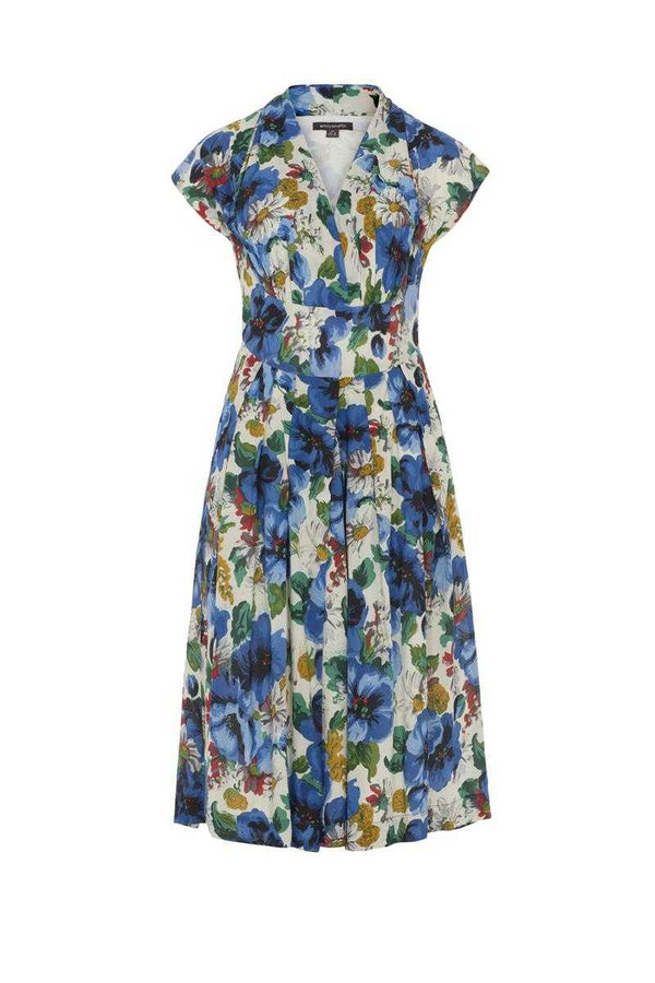 Emily and Fin Flora Dress Blue Blossoming Poppies - Talis Collection