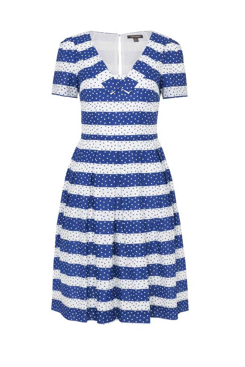Emily and Fin Matilda Dress Navy Spots and Stripe Size XS - Talis Collection