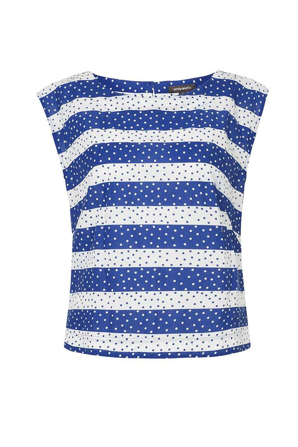 Emily and Fin Edna Top Navy Spots and Stripe - Talis Collection