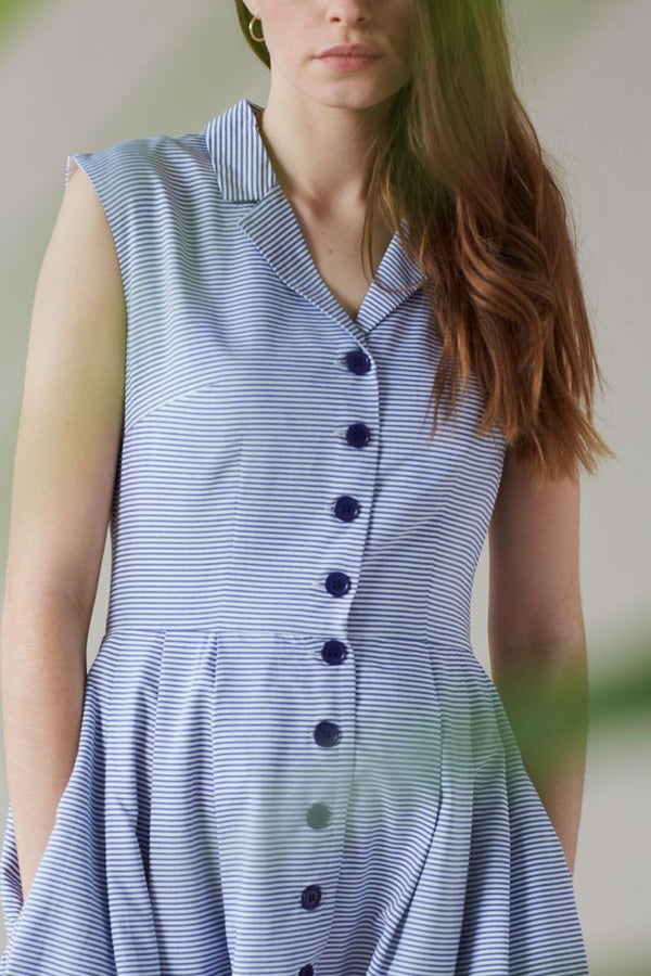 Emily and Fin Frankie Dress Chambray Stripe - Talis Collection