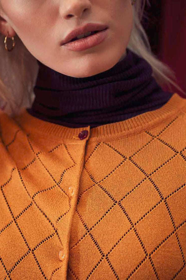 Emily and Fin Tess Pointelle Cardigan Golden Ochre - Talis Collection