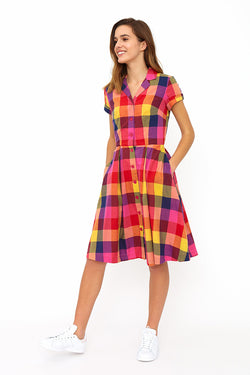 Emily and Fin Kate Dress Sunset Plaid - Talis Collection