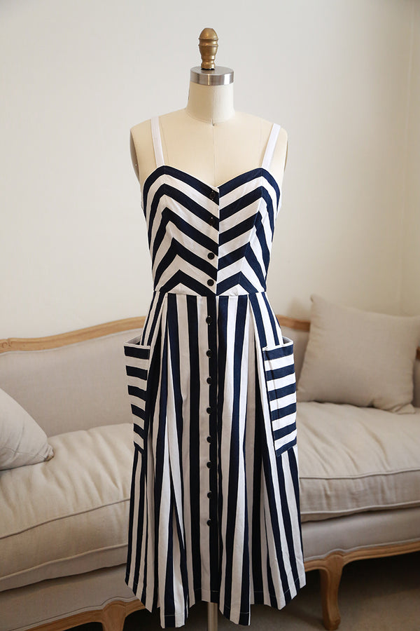 Emily and Fin Layla Sun Dress Nautical Stripes - Talis Collection