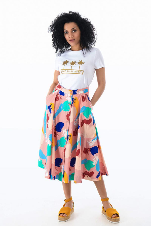 Emily and Fin Sandy Button Skirt Brushstroke Abstract - Talis Collection
