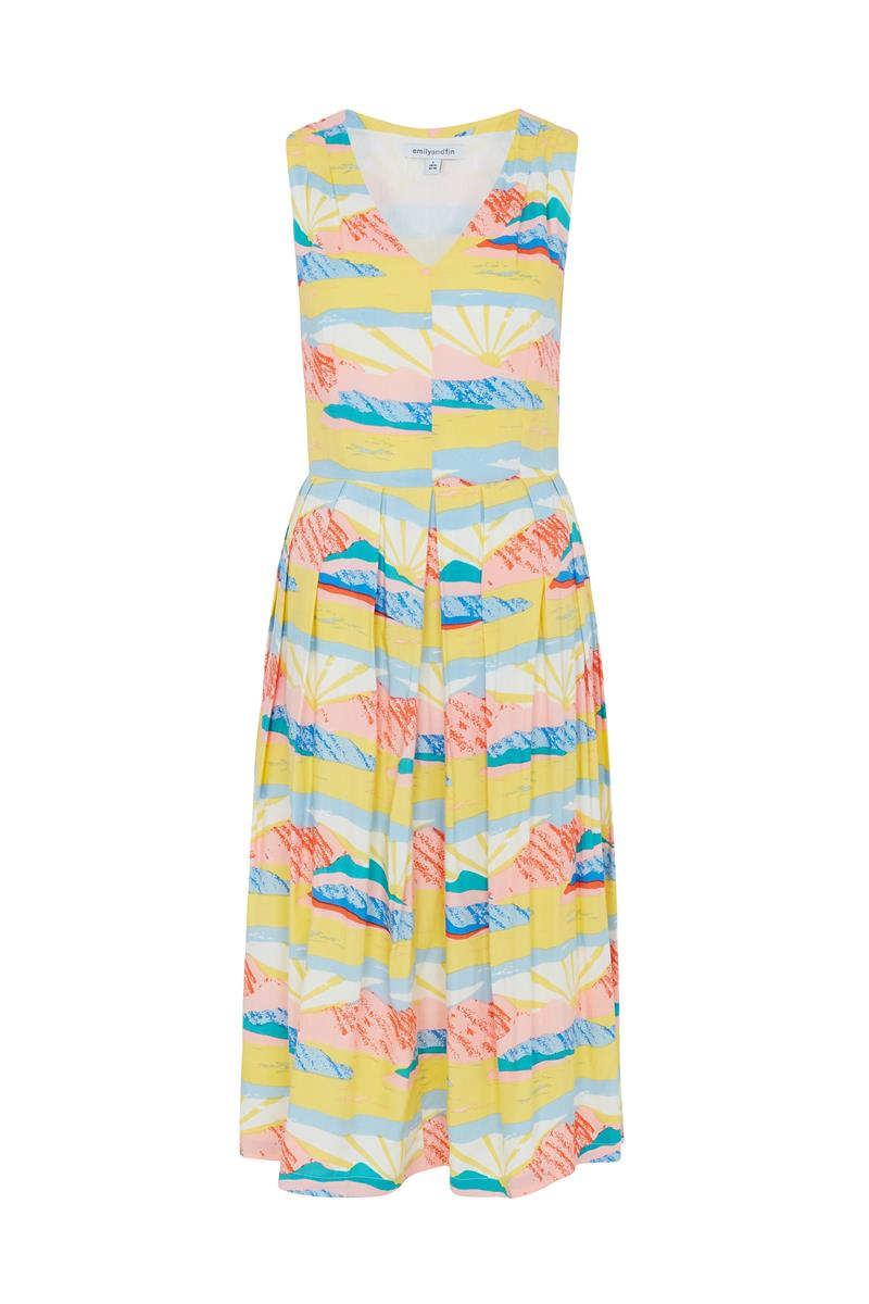 Emily and Fin Josie V Neck Midi Dress Paintbox Valley - Talis Collection