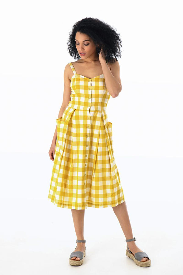 Emily and Fin Layla Sun Dress Yellow Plaid - Talis Collection
