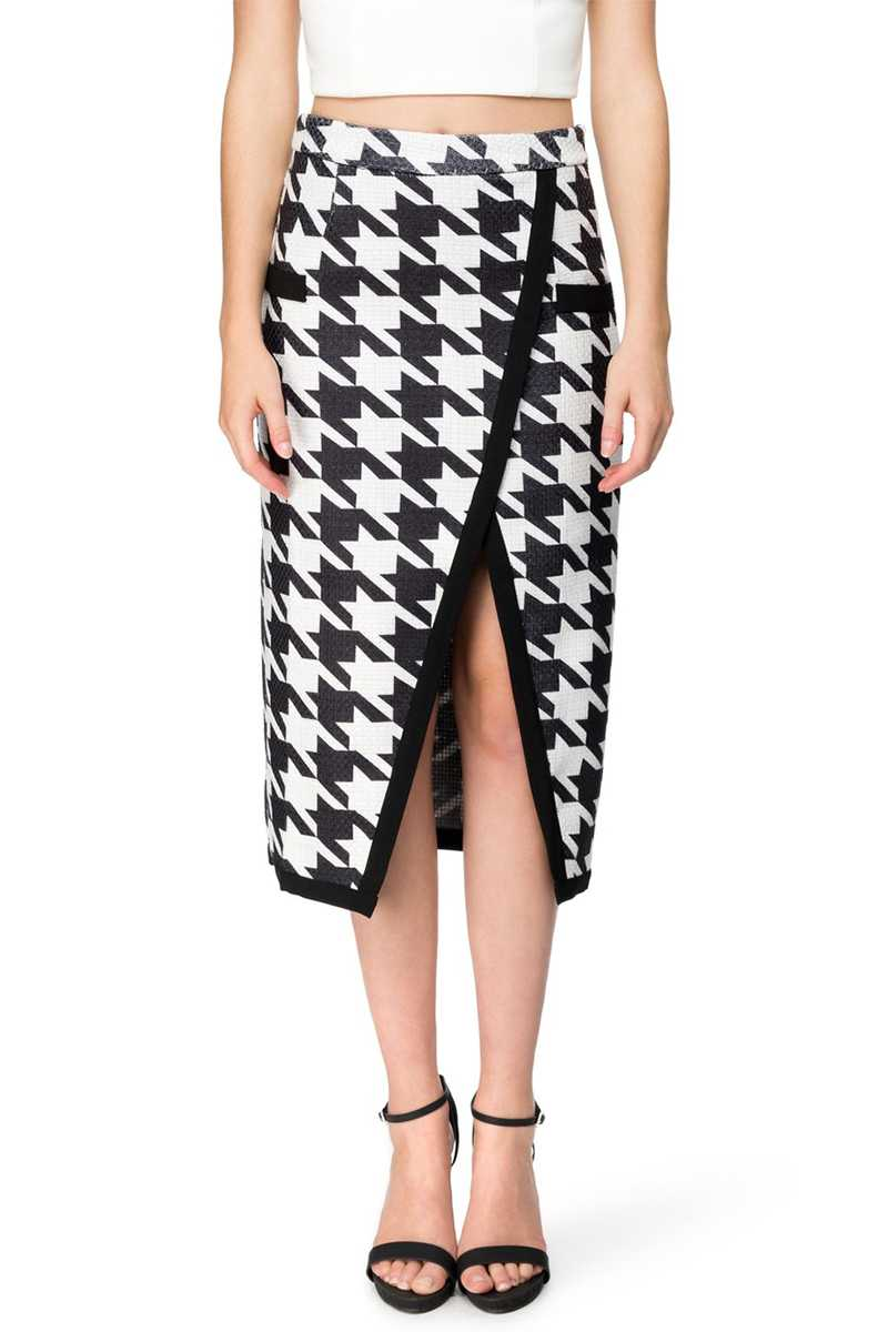 Elliatt New Heights Houndstooth Midi Skirt - Talis Collection