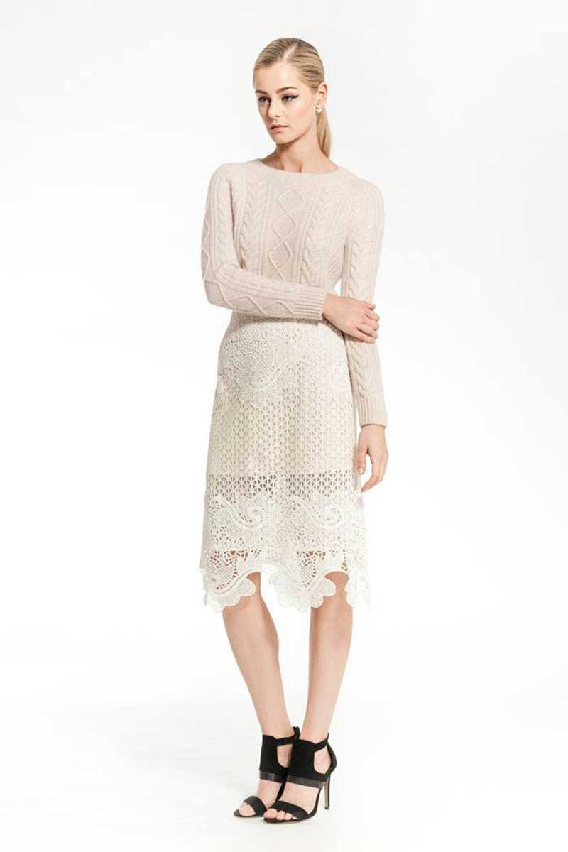 Elliatt Musing Lace Cut Out Midi Skirt - Talis Collection