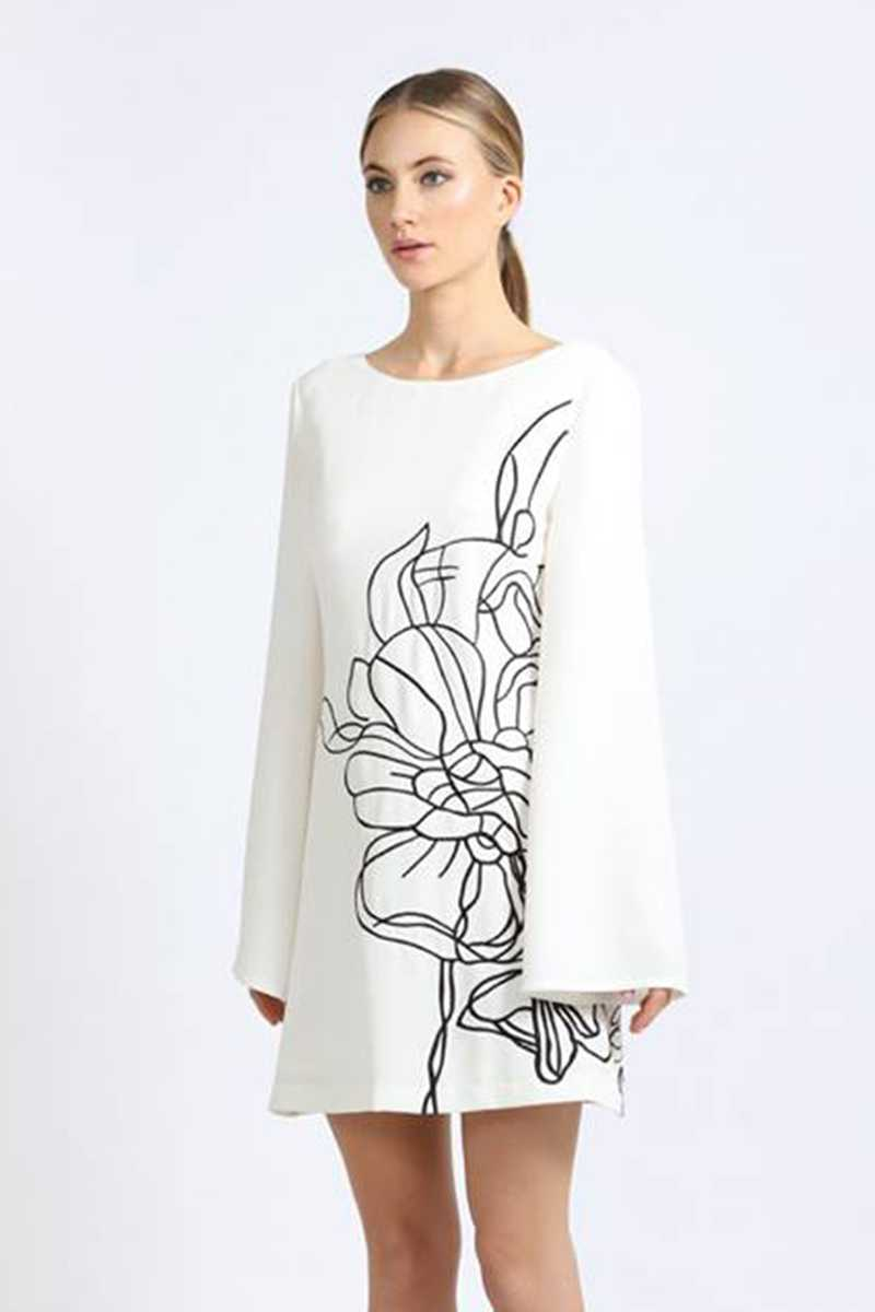 Elliatt Floral Abstract Bell Sleeve Swing Dress - Talis Collection