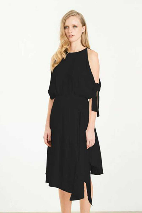 Elliatt Captivate Cold Shoulder Dress Black - Talis Collection