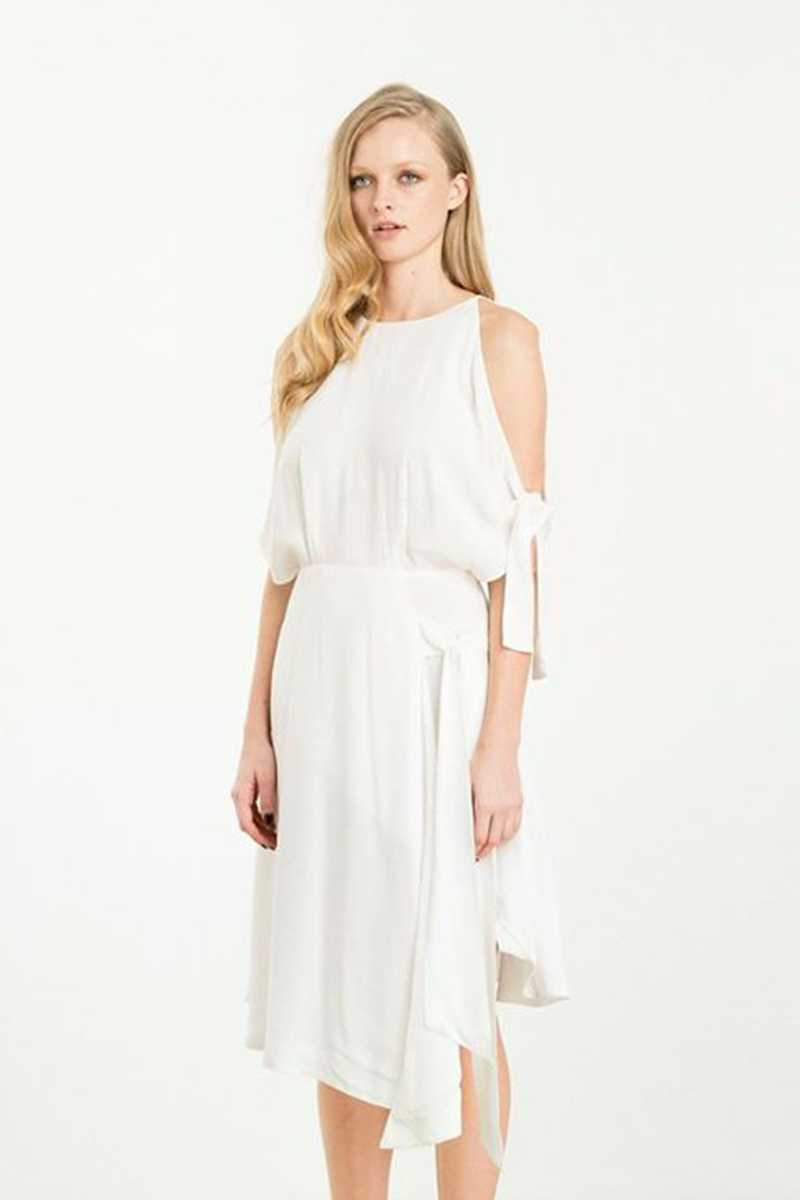 Elliatt Captivate Cold Shoulder Dress White - Talis Collection