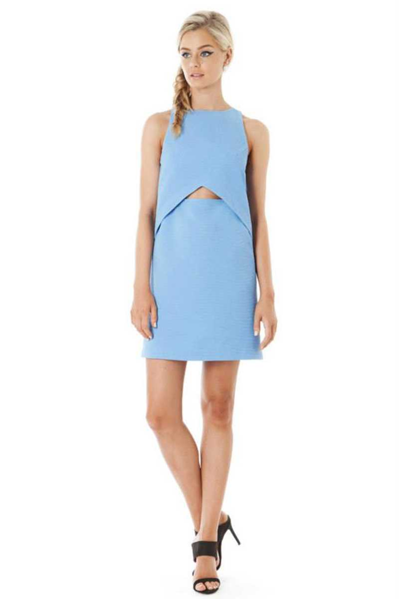 Elliatt Globe Cut Out Front Shift Dress Ice Blue - Talis Collection