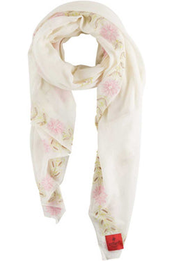 Erfurt Embroidery Floral Cotton Scarf Cream - Talis Collection