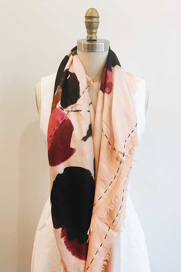 Erfurt Silk Modal Flower Scarf Peach - Talis Collection