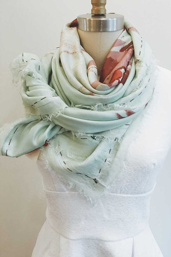 Erfurt Silk Modal Big Flower Scarf Morning Mist - Talis Collection