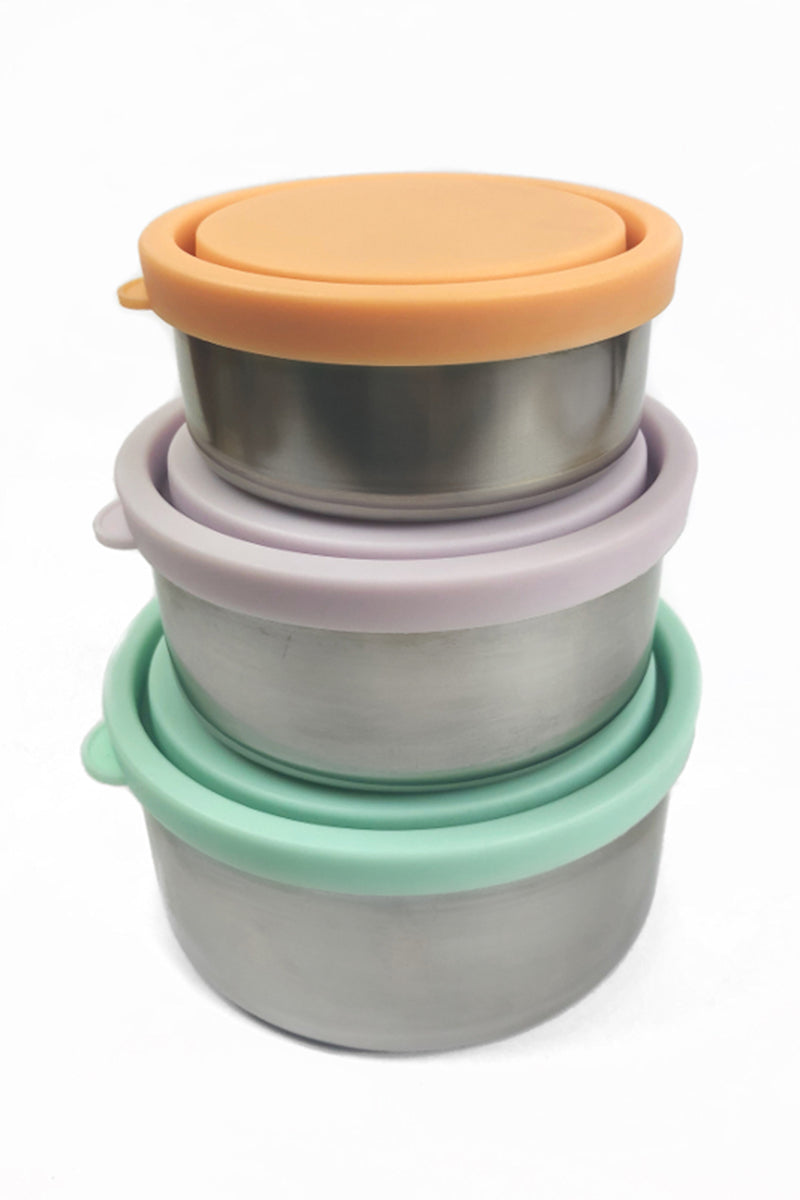 Ever Eco Stainless Steel Round Nesting Containers Pastels 3 Piece Set - Talis Collection