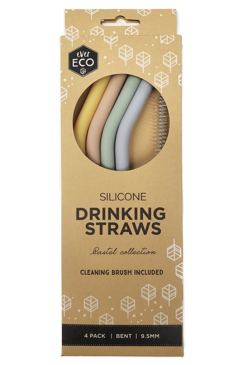 Ever Eco Silicone Straws Bent 4 Pack - Talis Collection