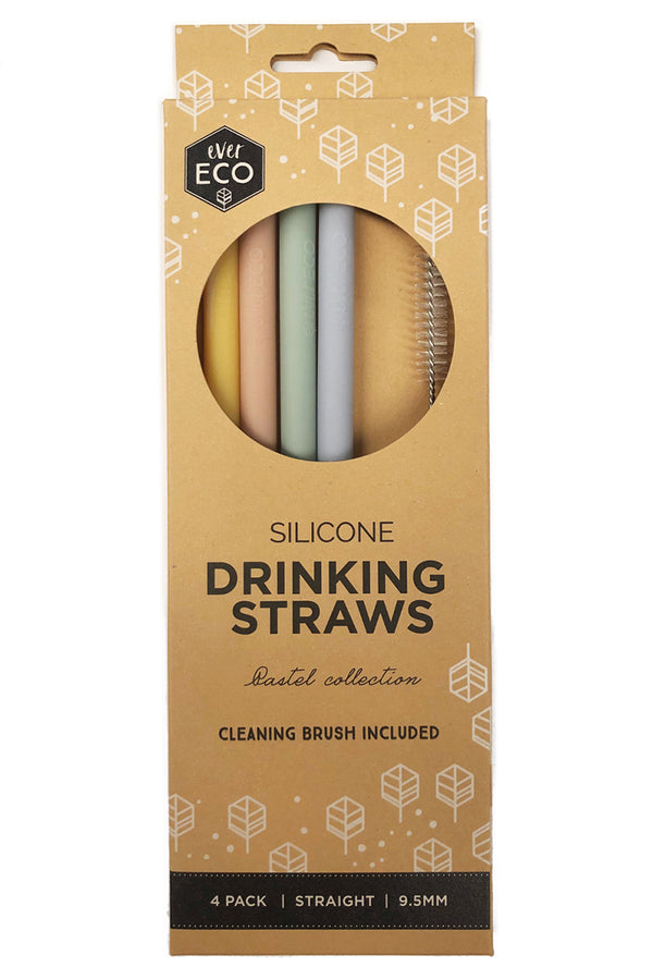 Ever Eco Silicone Straws Straight 4 Pack - Talis Collection