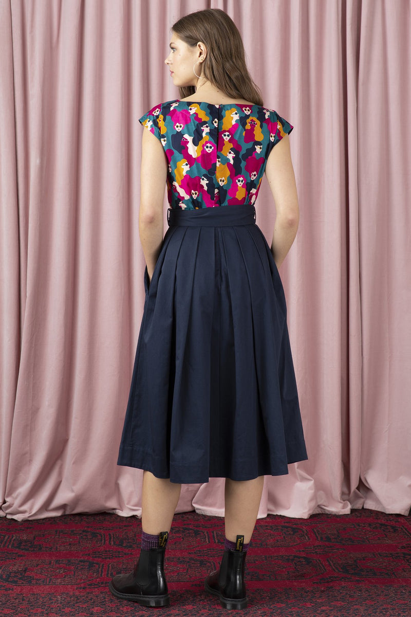 Emily and Fin Jemima Navy Cotton Satin Bow Skirt