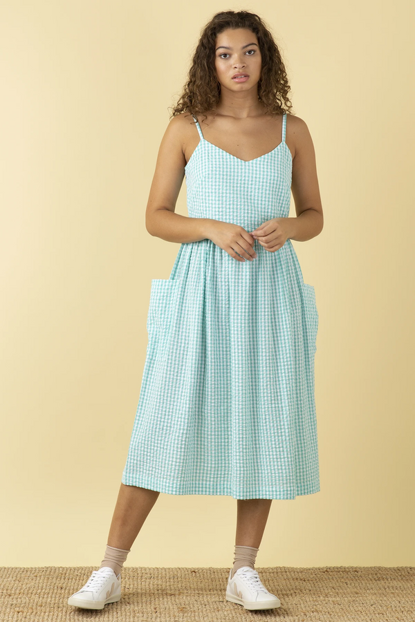 Emily and Fin Bree Dress Mint Gingham PRE-ORDER