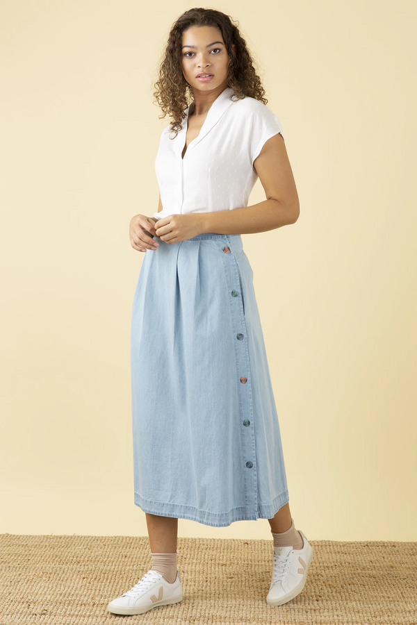 Emily and Fin Briony Skirt Light Denim PRE-ORDER
