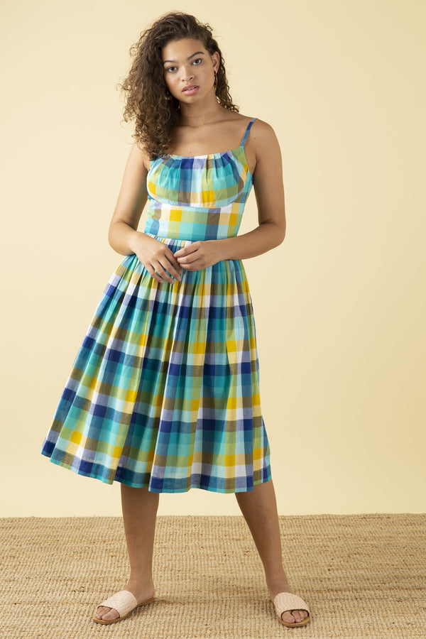 Emily and Fin Enid Dress Cote D'azur Plaid PRE-ORDER