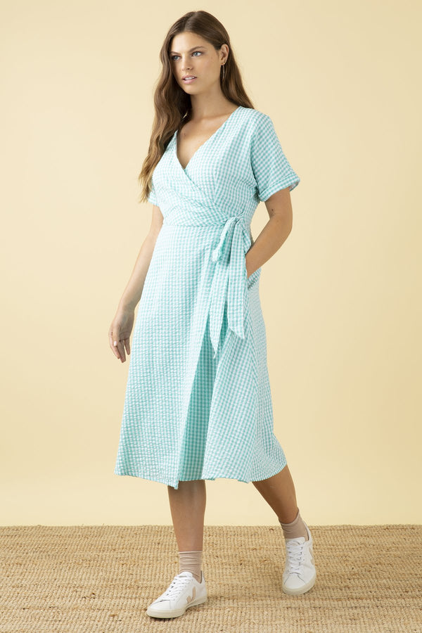 Emily and Fin Jenna Wrap Dress Mint Gingham PRE-ORDER