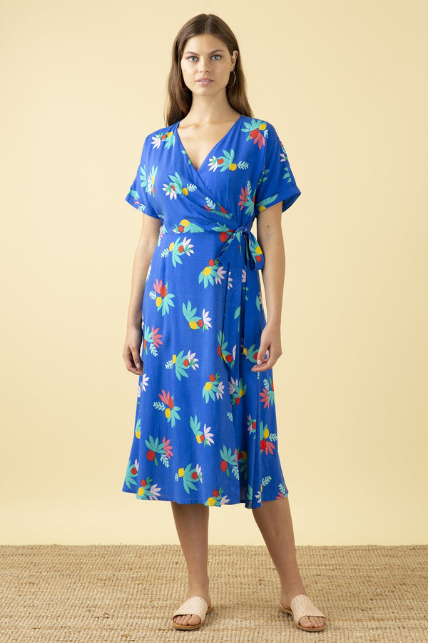 Emily and Fin Jenna Wrap Dress Blue Summer Fruits PRE-ORDER