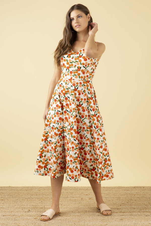 Emily and Fin Margot Midi Dress Mini Summer Oranges