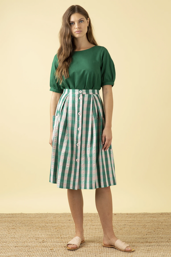 Emily and Fin Viola Skirt Botanical Plaid PRE-ORDER