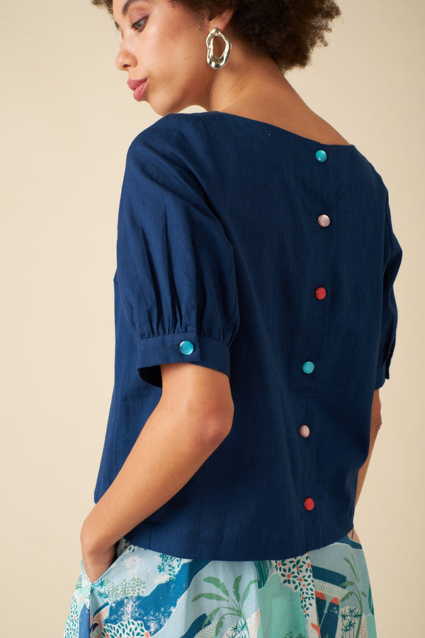Emily and Fin Ava Linen Top Ink Blue