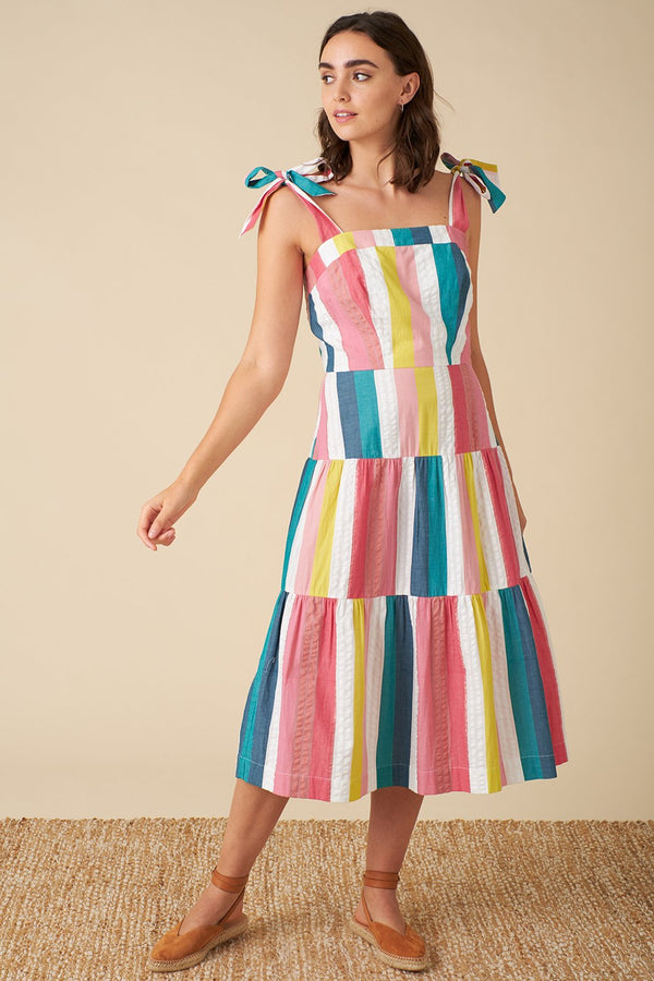 Emily and Fin Iona Dress Summer Rainbow Stripe