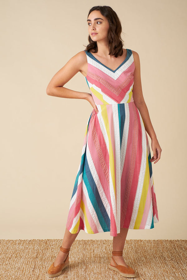 Emily and Fin Margot Midi Dress Summer Rainbow Stripe PRE-ORDER