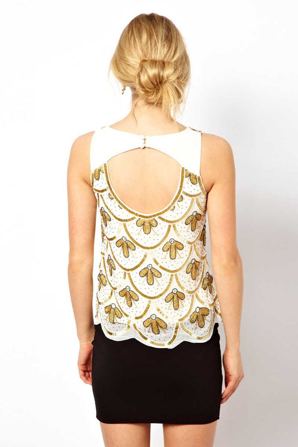 Frock and Frill Embellished Gatsby Style Art Deco Vest Top