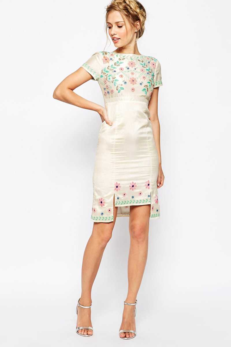 Frock and Frill Floral Embroidered Pencil Dress
