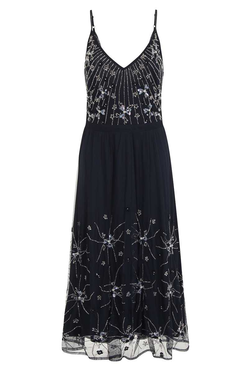 Frock and Frill Tiarna Embellished Midi Dress Navy