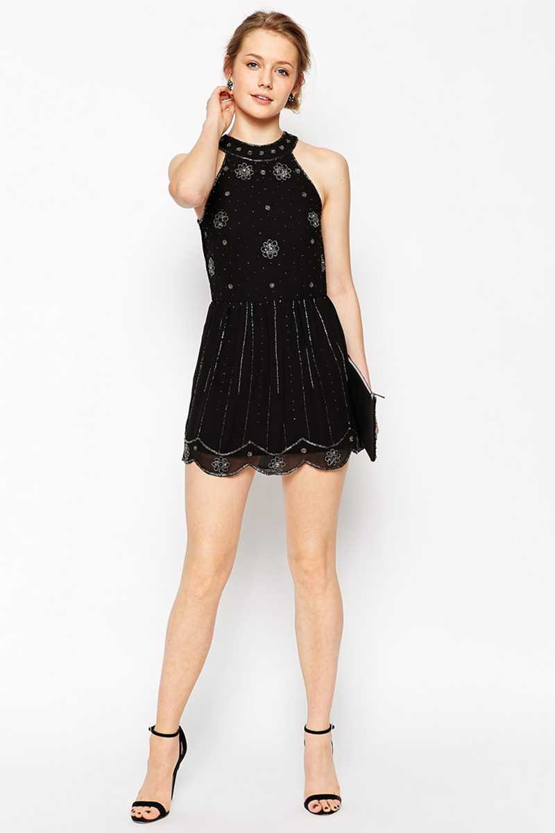 Frock and Frill Elizabeth Embellished Neck Gatsby Dress