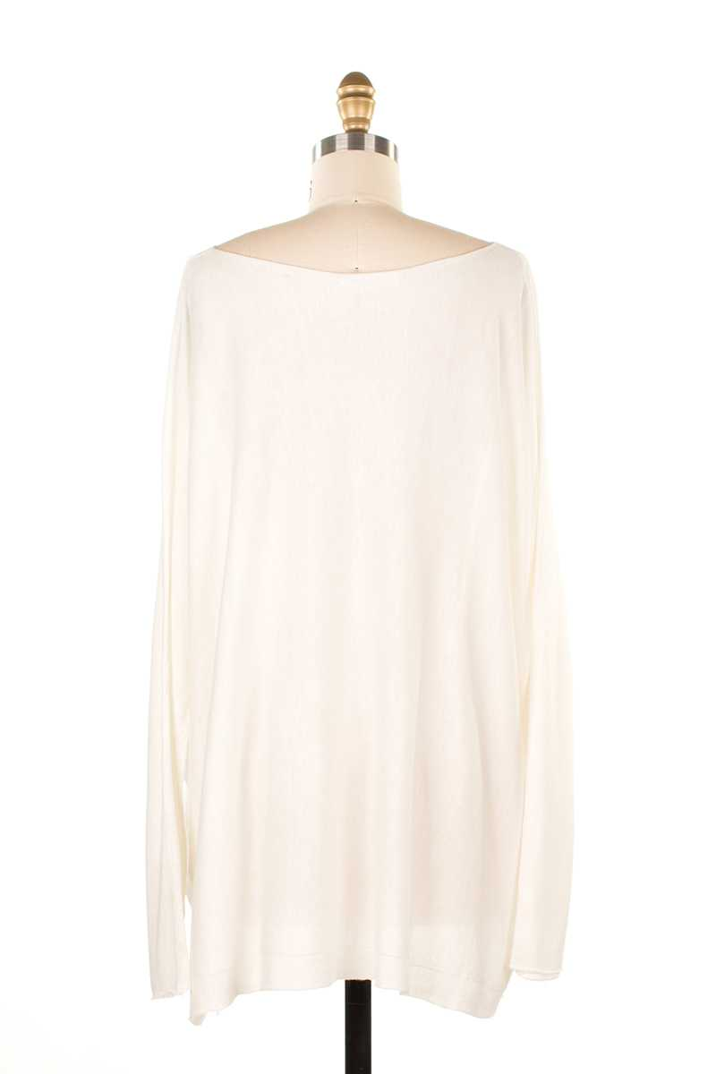 Laurita Lace Trim Oversized Wool Top