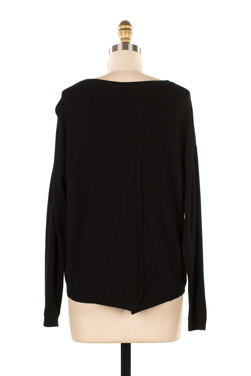 Mariana Split Back Knit Top Black