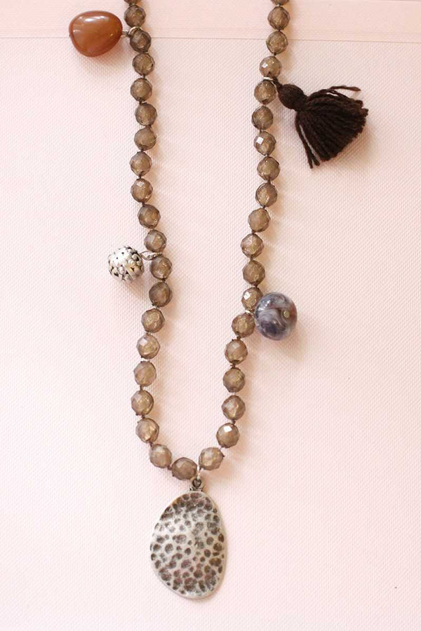 Edita Pompon Long Necklace - Talis Collection