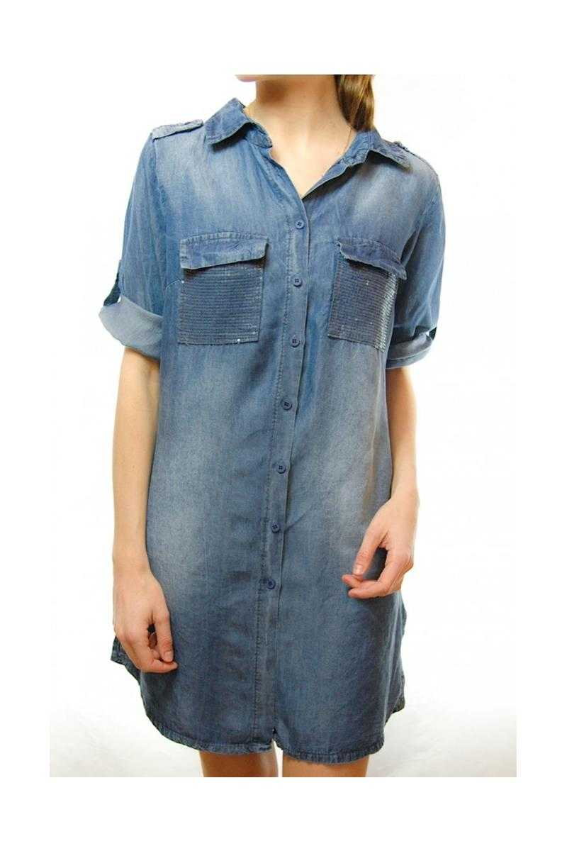 Elle Denim Shirt Dress with Sequin Pockets - Talis Collection