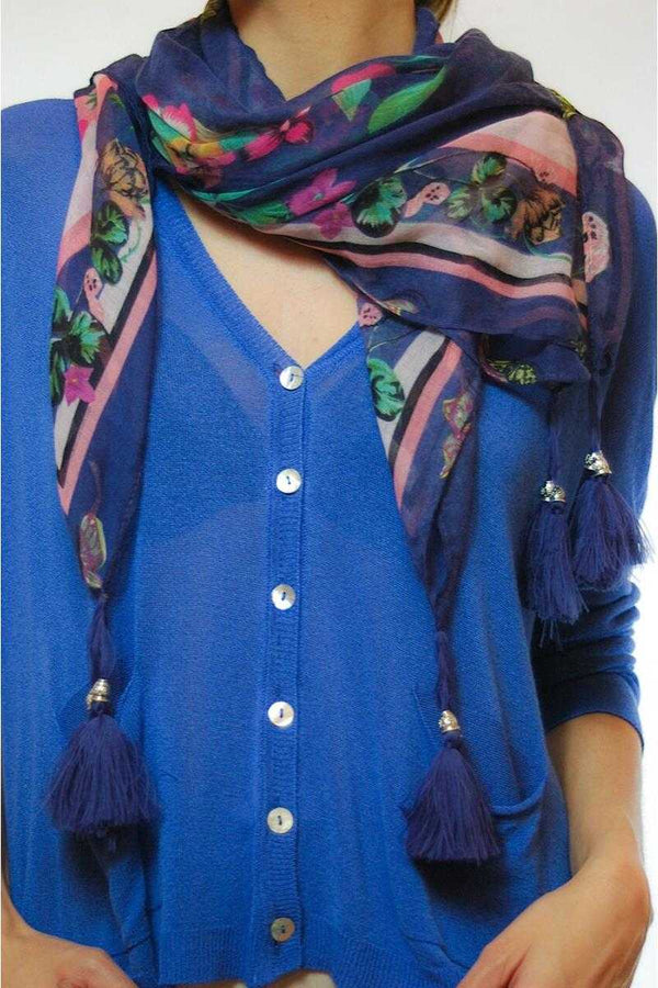 Chelo Floral Print Pompom Scarf - Talis Collection