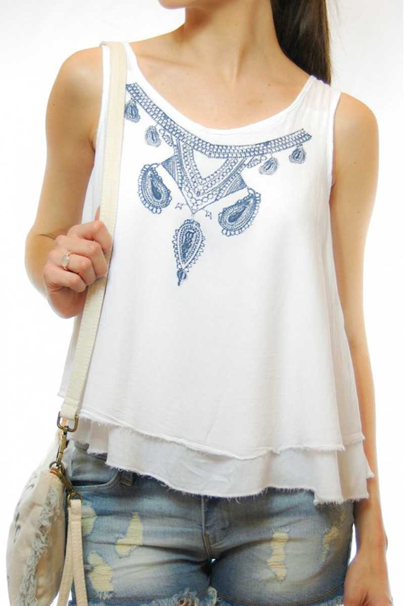 Estela Tiered Printed Vest Top - Talis Collection