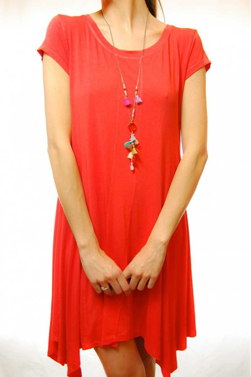 Carlota Asym Hem Jersey Dress Red - Talis Collection