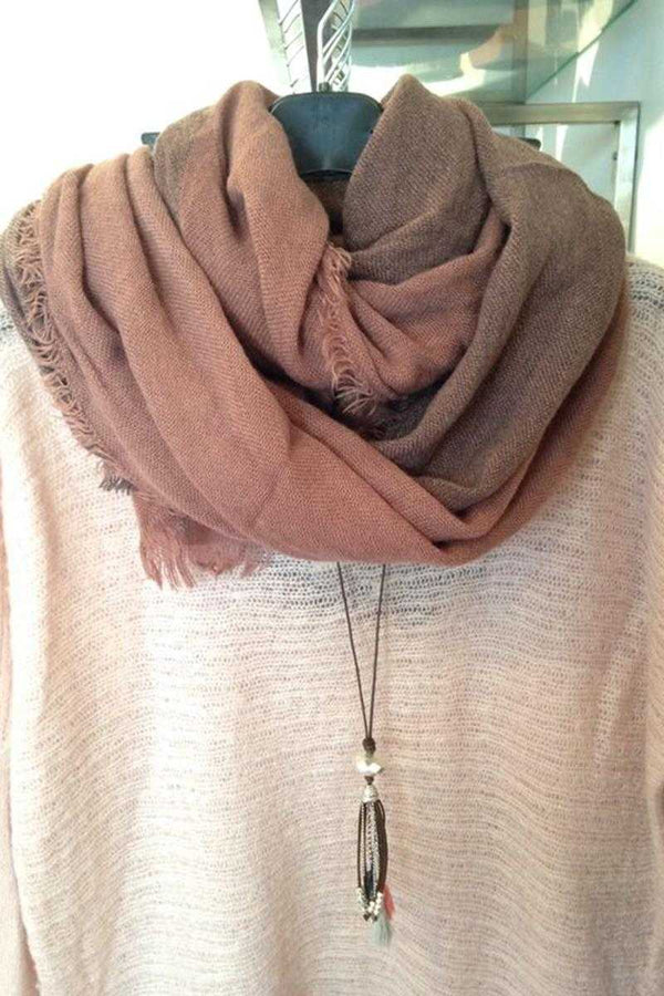 Halle Raw Edge Long Scarf Brown