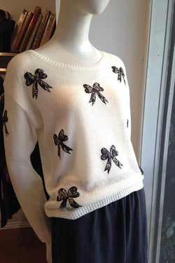 Embroidery Bow Knit Top - Talis Collection