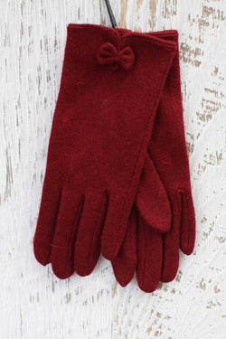 Idella Gloves with Bow Red