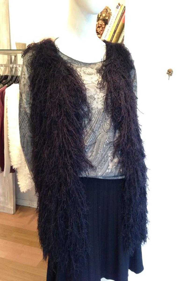 Alba Fur Vest Black - Talis Collection